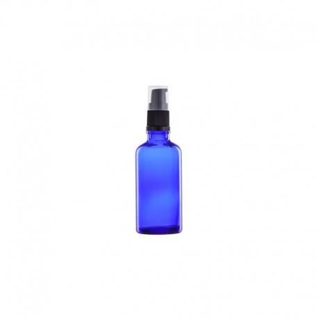 Szklana, niebieska butelka z pompką 30ml