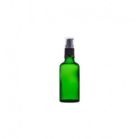 Szklana, zielona butelka z pompką 30ml