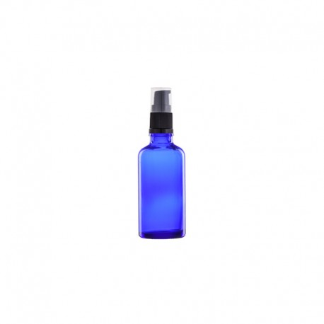 Szklana niebieska butelka z pompką 50ml